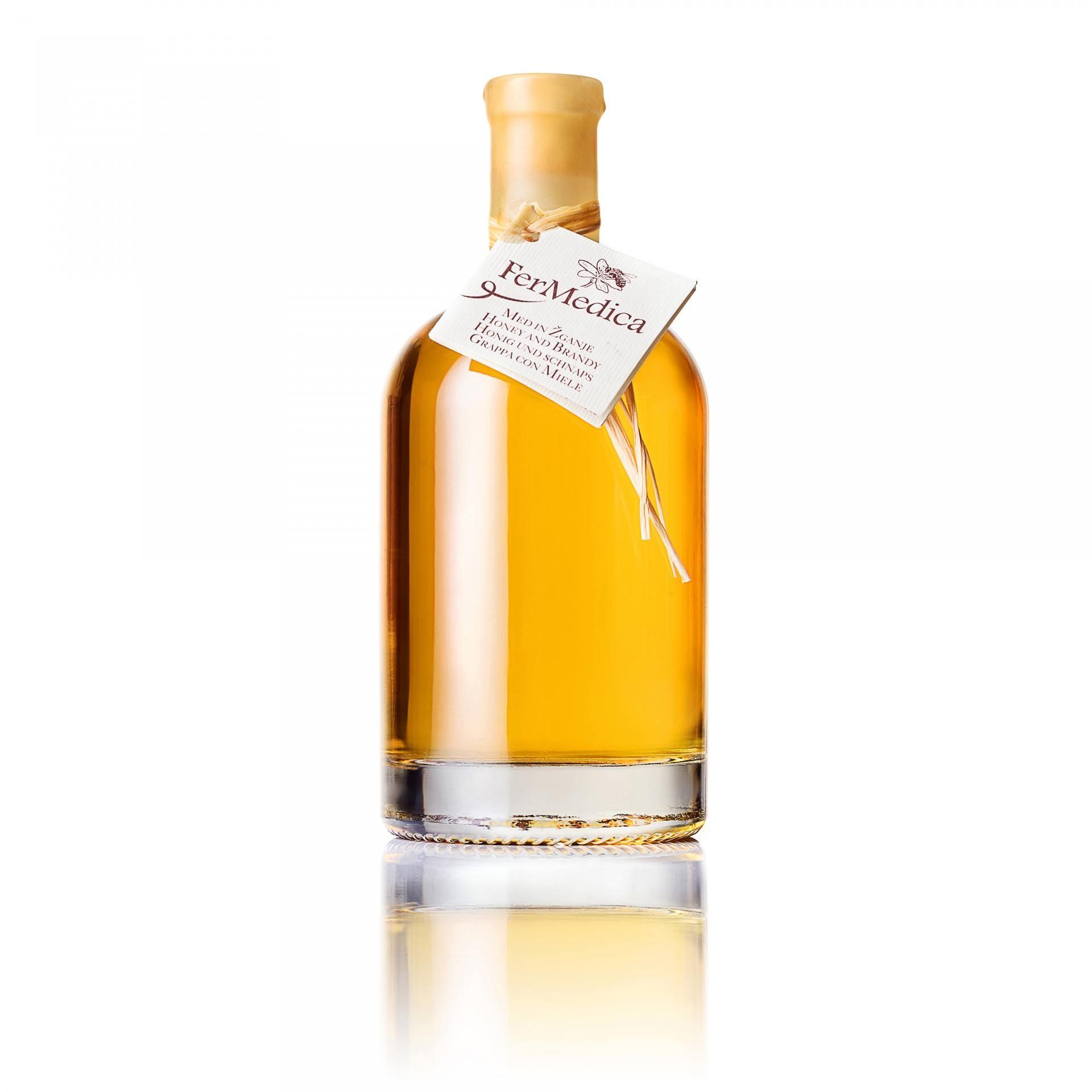 Med in žganje, med z dodatki, darilni seti v lični embalaži fermedica 2
